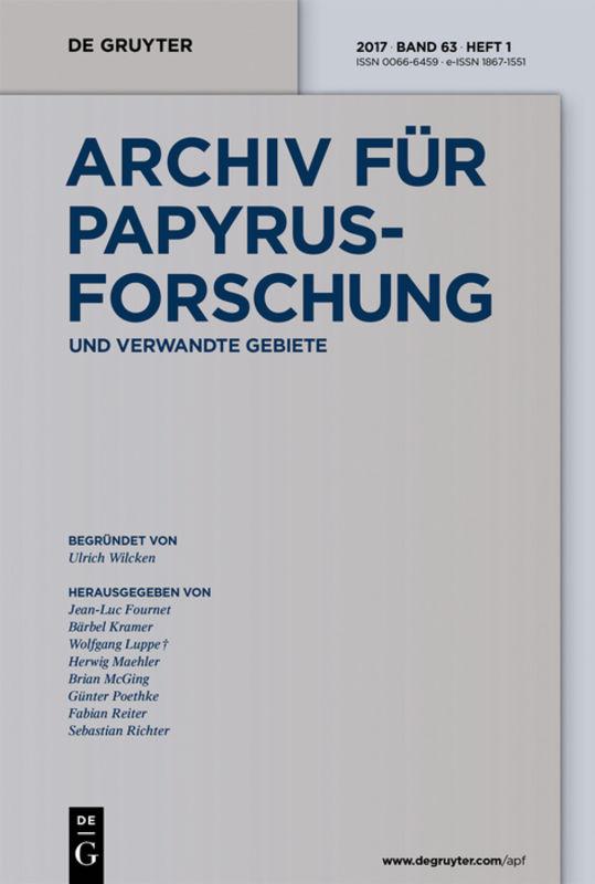 Archiv für Papyrusforschung und verwandte Gebiete